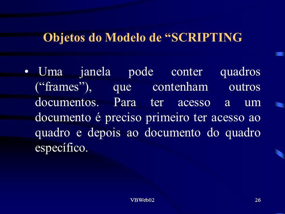 VBWeb0226 Objetos do Modelo de SCRIPTING Uma janela pode conter quadros (frames), que contenham outros documentos. Para ter acesso a um documento é pr