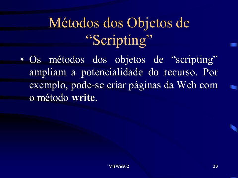 VBWeb0229 Métodos dos Objetos de Scripting Os métodos dos objetos de scripting ampliam a potencialidade do recurso. Por exemplo, pode-se criar páginas