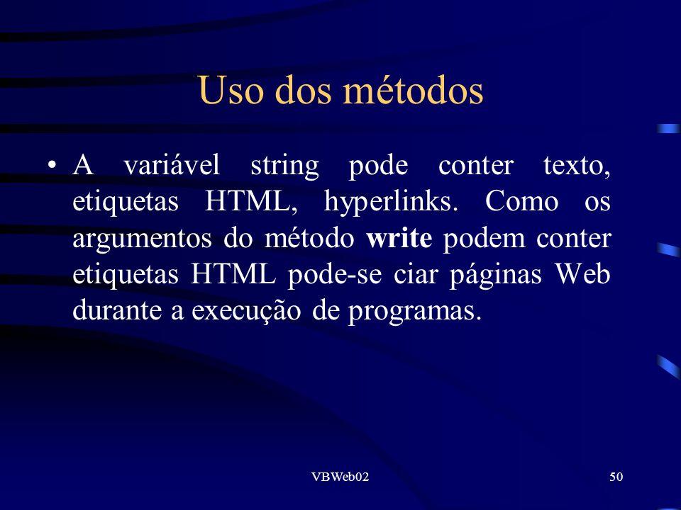 VBWeb0250 Uso dos métodos A variável string pode conter texto, etiquetas HTML, hyperlinks. Como os argumentos do método write podem conter etiquetas H