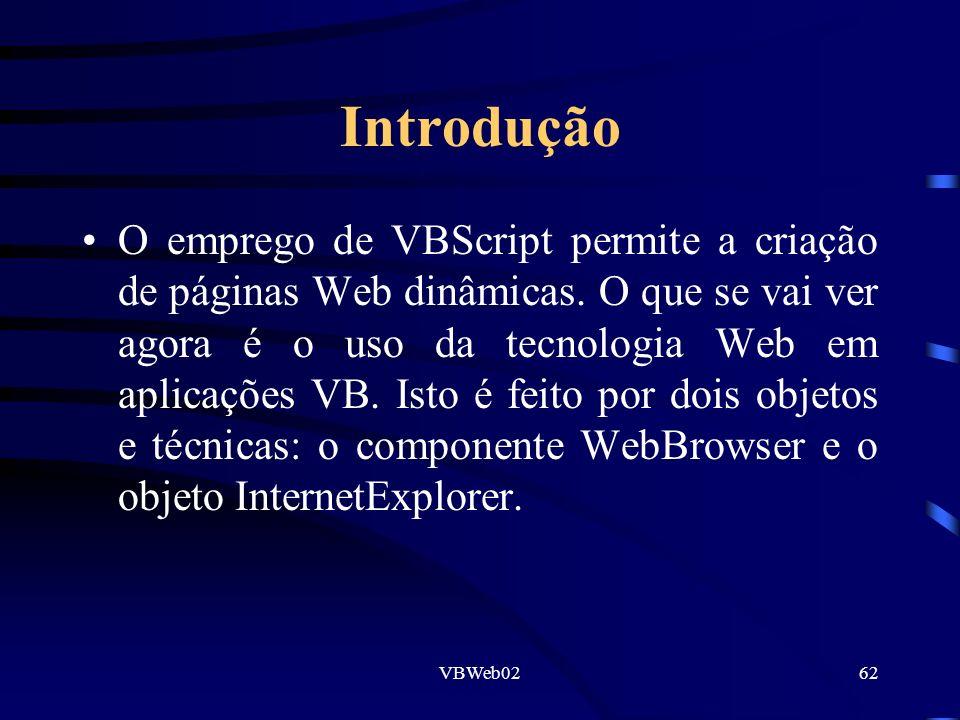 VBWeb0262 Introdução O emprego de VBScript permite a criação de páginas Web dinâmicas. O que se vai ver agora é o uso da tecnologia Web em aplicações