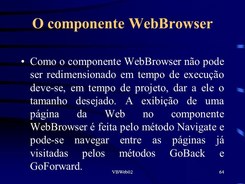 VBWeb0264 O componente WebBrowser Como o componente WebBrowser não pode ser redimensionado em tempo de execução deve-se, em tempo de projeto, dar a ele o tamanho desejado.