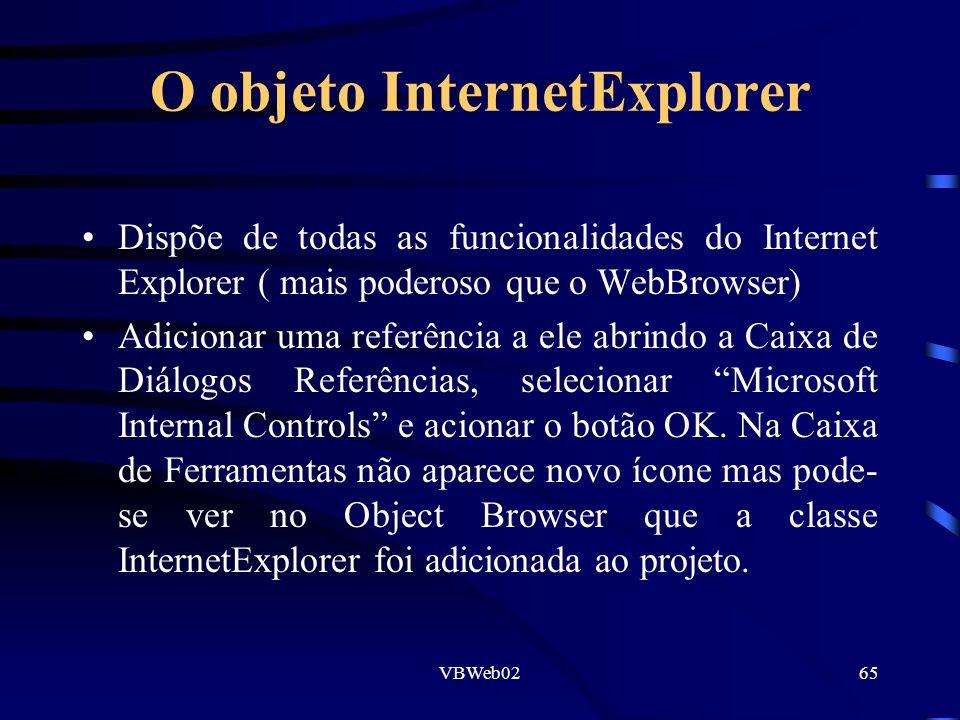 VBWeb0265 O objeto InternetExplorer Dispõe de todas as funcionalidades do Internet Explorer ( mais poderoso que o WebBrowser) Adicionar uma referência a ele abrindo a Caixa de Diálogos Referências, selecionar Microsoft Internal Controls e acionar o botão OK.