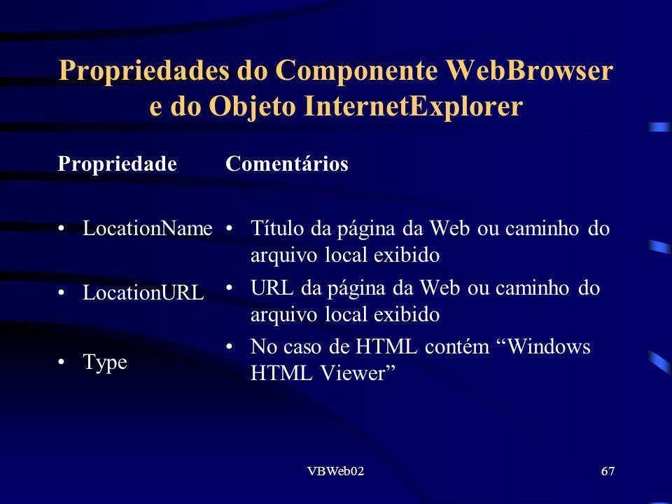 VBWeb0267 Propriedades do Componente WebBrowser e do Objeto InternetExplorer Propriedade LocationName LocationURL Type Comentários Título da página da Web ou caminho do arquivo local exibido URL da página da Web ou caminho do arquivo local exibido No caso de HTML contém Windows HTML Viewer