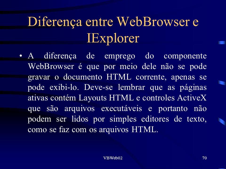 VBWeb0270 Diferença entre WebBrowser e IExplorer A diferença de emprego do componente WebBrowser é que por meio dele não se pode gravar o documento HTML corrente, apenas se pode exibi-lo.