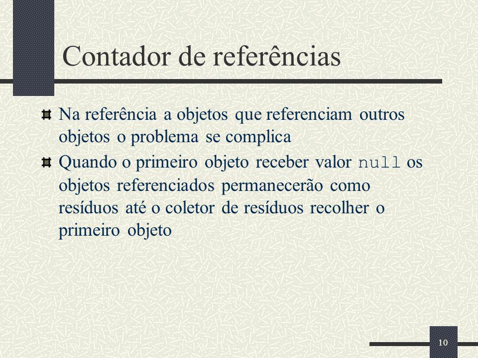 Contador de referências Na referência a objetos que referenciam outros objetos o problema se complica Quando o primeiro objeto receber valor null os objetos referenciados permanecerão como resíduos até o coletor de resíduos recolher o primeiro objeto 10