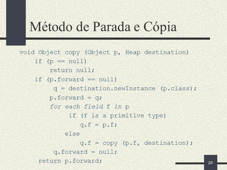 Método de Parada e Cópia void Object copy (Object p, Heap destination) if (p == null) return null; if (p.forward == null) q = destination.newInstance (p.class); p.forward = q; for each field f in p if (f is a primitive type) q.f = p.f; else q.f = copy (p.f, destination); q.forward = null; return p.forward; 20