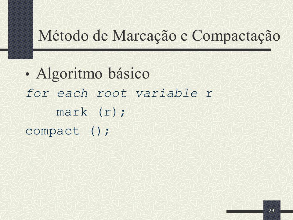 Método de Marcação e Compactação Algoritmo básico for each root variable r mark (r); compact (); 23