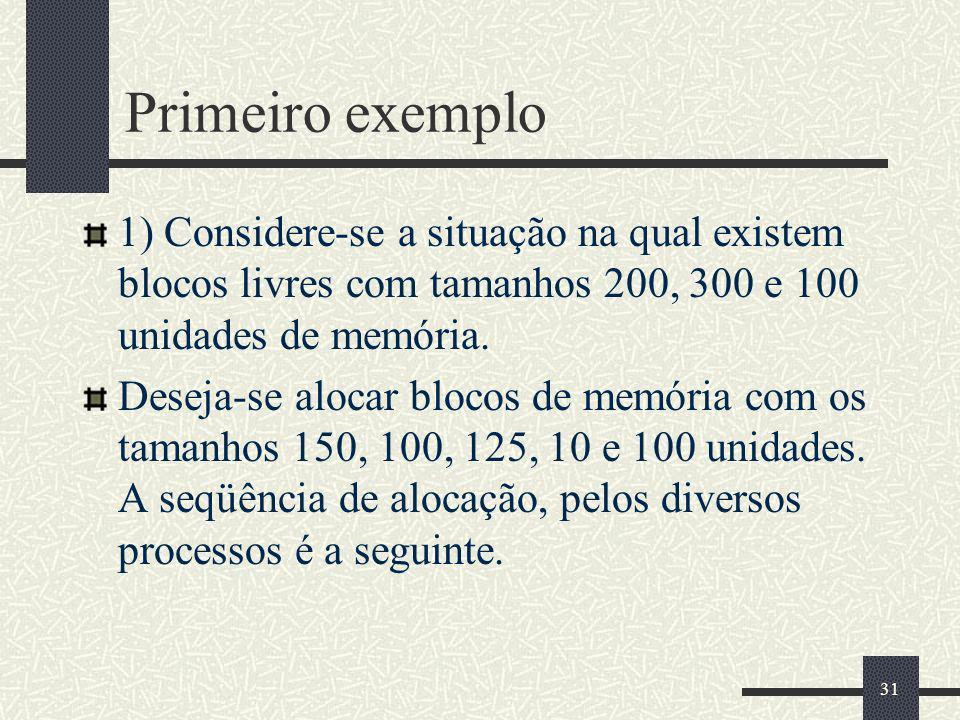 31 Primeiro exemplo 1) Considere-se a situação na qual existem blocos livres com tamanhos 200, 300 e 100 unidades de memória.