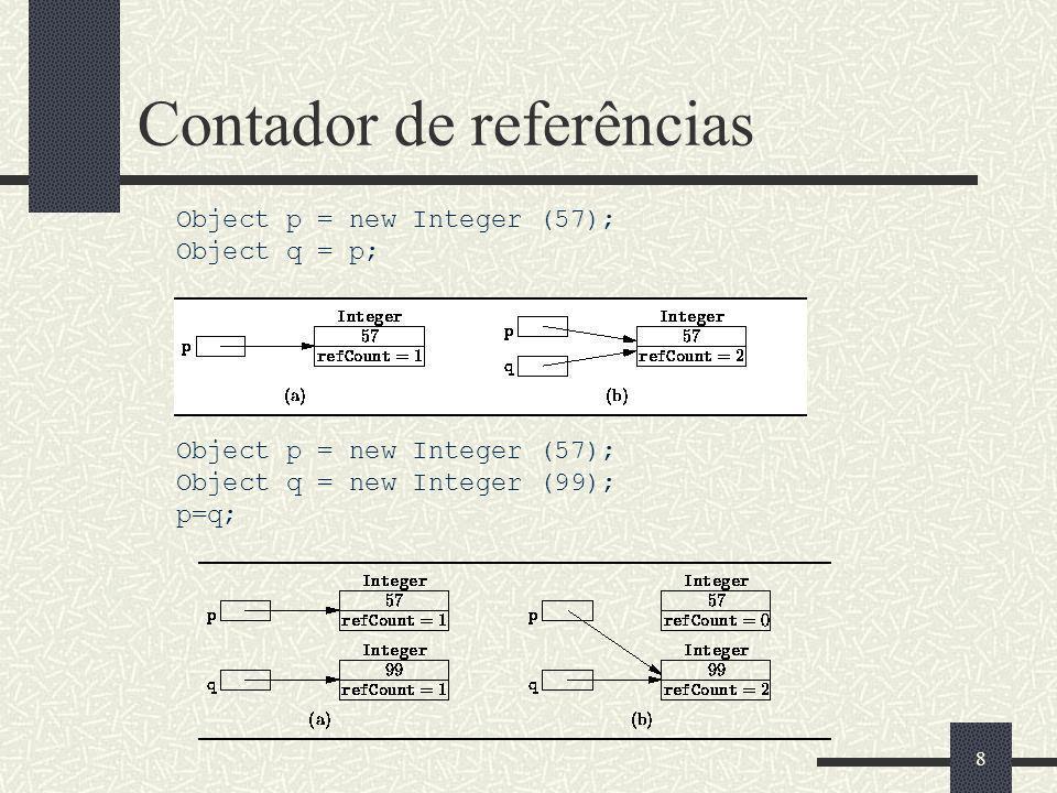 Contador de referências Implementações do contador de referências para p = q; if (p != q) { if (p != null) --p.refCount; p = q; if (p != null) ++p.refCount; } ou if (p != q) { if (p != null) if (--p.refCount == 0) heap.release (p); p = q; if (p != null) ++p.refCount; } 9