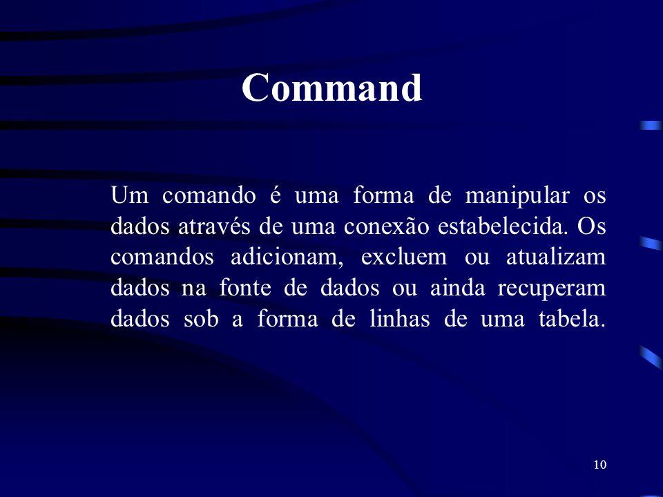 10 Command Um comando é uma forma de manipular os dados através de uma conexão estabelecida. Os comandos adicionam, excluem ou atualizam dados na font