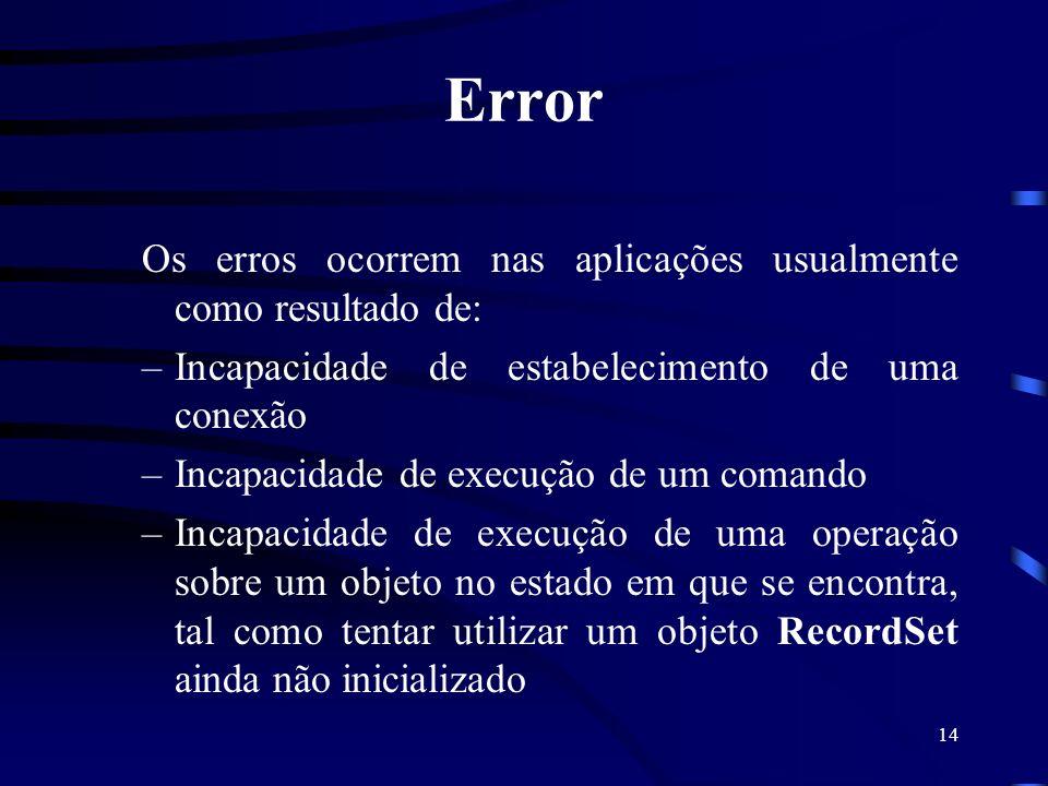 14 Error Os erros ocorrem nas aplicações usualmente como resultado de: –Incapacidade de estabelecimento de uma conexão –Incapacidade de execução de um comando –Incapacidade de execução de uma operação sobre um objeto no estado em que se encontra, tal como tentar utilizar um objeto RecordSet ainda não inicializado
