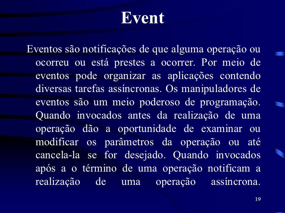 19 Event Eventos são notificações de que alguma operação ou ocorreu ou está prestes a ocorrer. Por meio de eventos pode organizar as aplicações conten