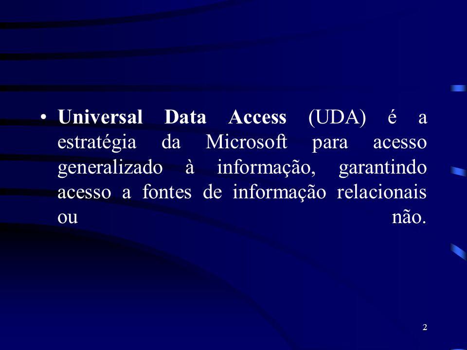 2 Universal Data Access (UDA) é a estratégia da Microsoft para acesso generalizado à informação, garantindo acesso a fontes de informação relacionais ou não.