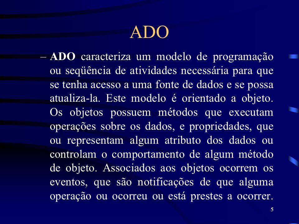 5 ADO –ADO caracteriza um modelo de programação ou seqüência de atividades necessária para que se tenha acesso a uma fonte de dados e se possa atualiza-la.