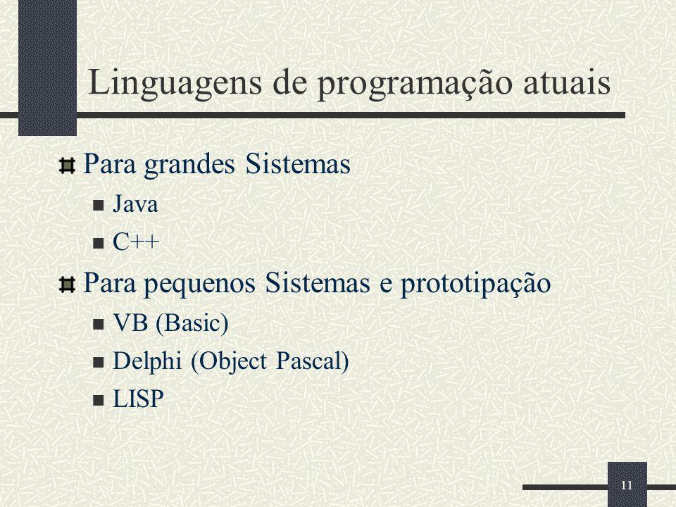 11 Linguagens de programação atuais Para grandes Sistemas Java C++ Para pequenos Sistemas e prototipação VB (Basic) Delphi (Object Pascal) LISP