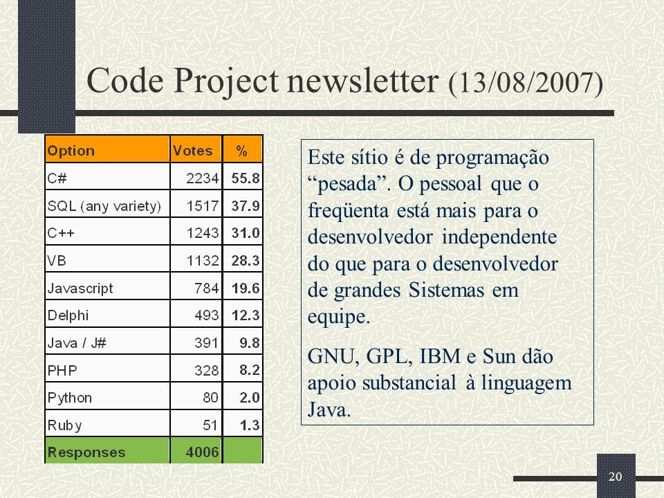 20 Code Project newsletter (13/08/2007) 20 Este sítio é de programação pesada.