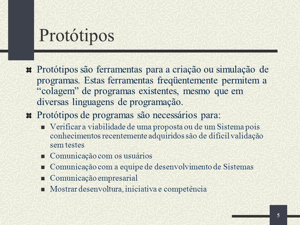 55 Protótipos Protótipos são ferramentas para a criação ou simulação de programas.