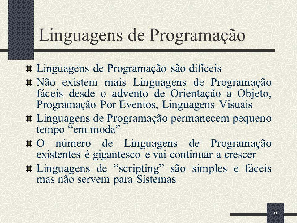 10 Linguagens de scripting atuais JCL Rexx WFL Shells Unix (sh, csh, ksh,...) Prolog Perl Tcl Python