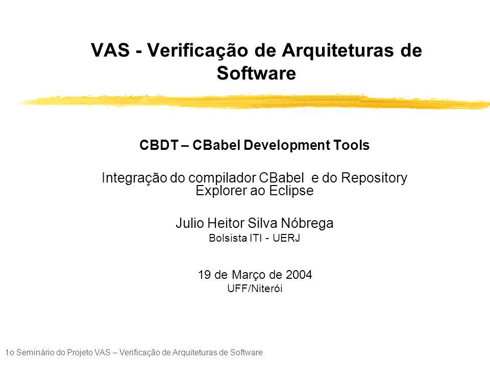 1o Seminário do Projeto VAS – Verificação de Arquiteturas de Software Integração do compilador Cbabel para a plataforma Eclipse zObjetivo zVisão geral de um plugin no Eclipse zMigração (swing SWT + JFace + plugin) zFerramentas e Técnicas usadas