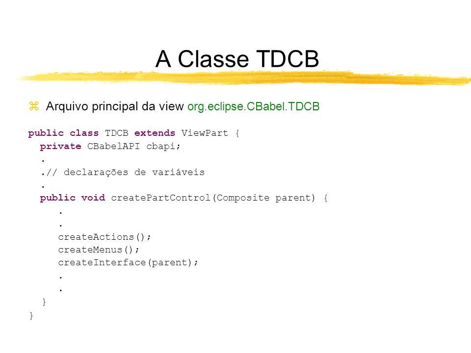 A Classe TDCB zArquivo principal da view org.eclipse.CBabel.TDCB public class TDCB extends ViewPart { private CBabelAPI cbapi;..// declarações de variáveis.