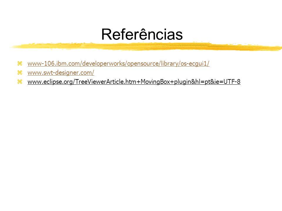 Referências zwww-106.ibm.com/developerworks/opensource/library/os-ecgui1/www-106.ibm.com/developerworks/opensource/library/os-ecgui1/ zwww.swt-designer.com/www.swt-designer.com/ zwww.eclipse.org/TreeViewerArticle.htm+MovingBox+plugin&hl=pt&ie=UTF-8