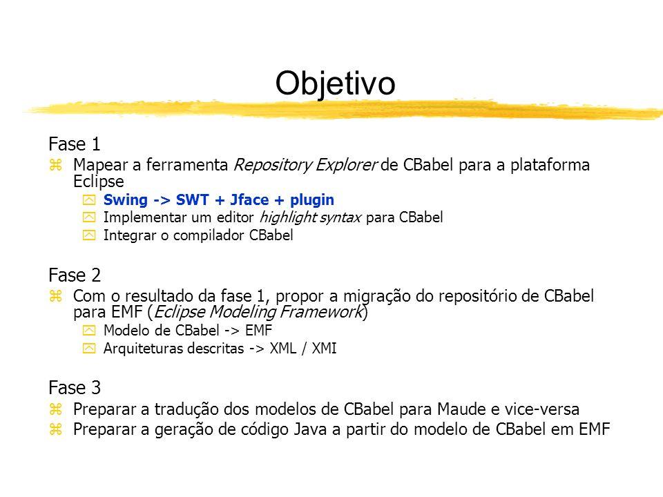 Objetivo Fase 1 zMapear a ferramenta Repository Explorer de CBabel para a plataforma Eclipse ySwing -> SWT + Jface + plugin yImplementar um editor highlight syntax para CBabel yIntegrar o compilador CBabel Fase 2 zCom o resultado da fase 1, propor a migração do repositório de CBabel para EMF (Eclipse Modeling Framework) yModelo de CBabel -> EMF yArquiteturas descritas -> XML / XMI Fase 3 zPreparar a tradução dos modelos de CBabel para Maude e vice-versa zPreparar a geração de código Java a partir do modelo de CBabel em EMF