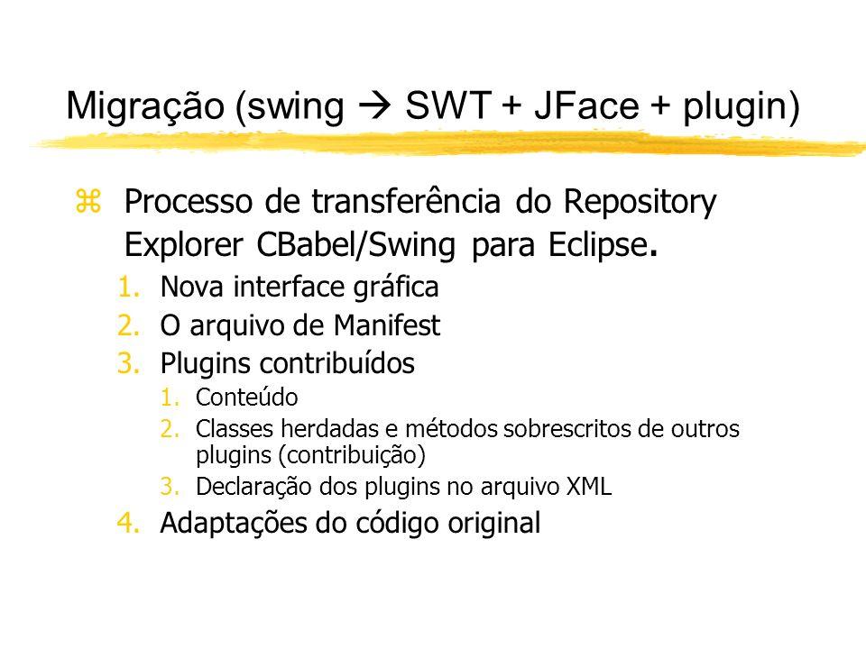 Migração (swing SWT + JFace + plugin) zProcesso de transferência do Repository Explorer CBabel/Swing para Eclipse.