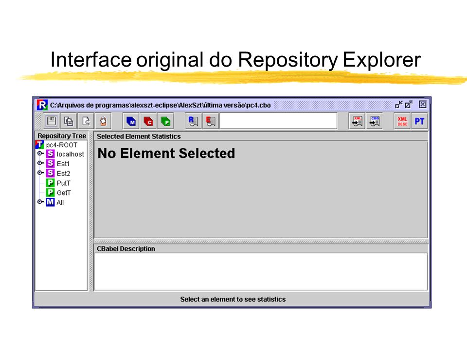 Interface original do Repository Explorer