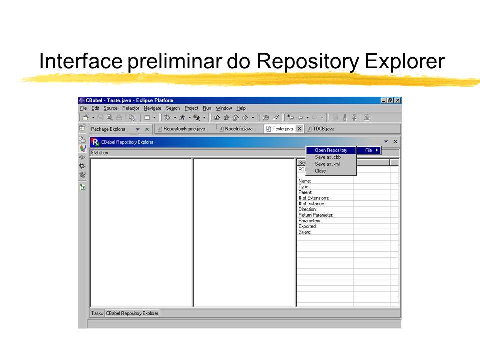 O arquivo de Manifest do novo plugin zParte do arquivo de Manifest (em XML) yUma view Ponto de extensão <extension point= org.eclipse.ui.views > <category name= Compiladores id= org.eclipse.CBabel > <view name= CBabel Repository Explorer icon= icons/tree20.gif category= org.eclipse.CBabel class= org.eclipse.Arvores.TDCB id= org.eclipse.Arvores.TDCB >