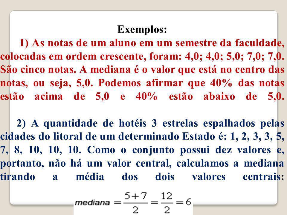 Exemplos: 1) As notas de um aluno em um semestre da faculdade, colocadas em ordem crescente, foram: 4,0; 4,0; 5,0; 7,0; 7,0.