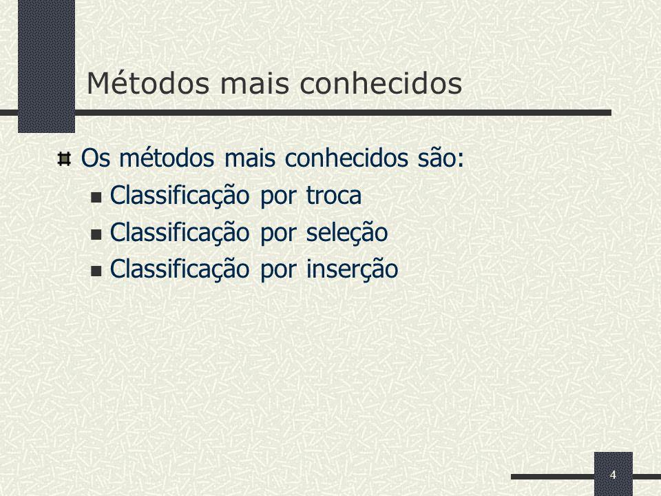 4 Métodos mais conhecidos Os métodos mais conhecidos são: Classificação por troca Classificação por seleção Classificação por inserção