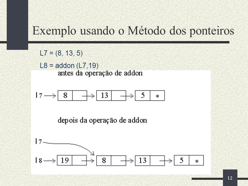 12 Exemplo usando o Método dos ponteiros L7 = (8, 13, 5) L8 = addon (L7,19)