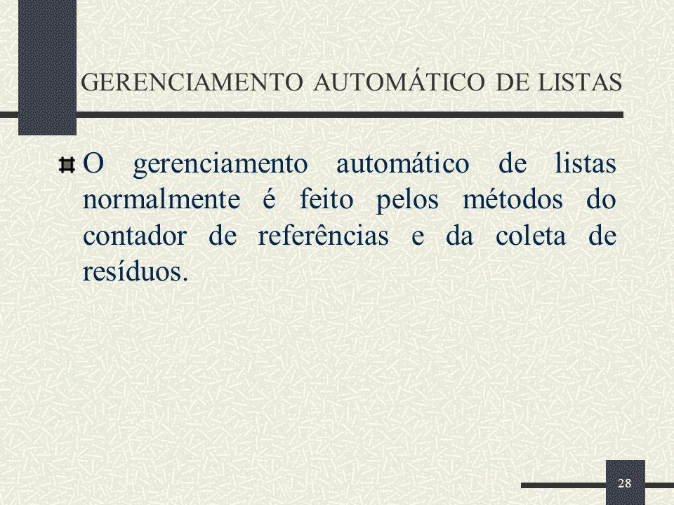 28 GERENCIAMENTO AUTOMÁTICO DE LISTAS O gerenciamento automático de listas normalmente é feito pelos métodos do contador de referências e da coleta de