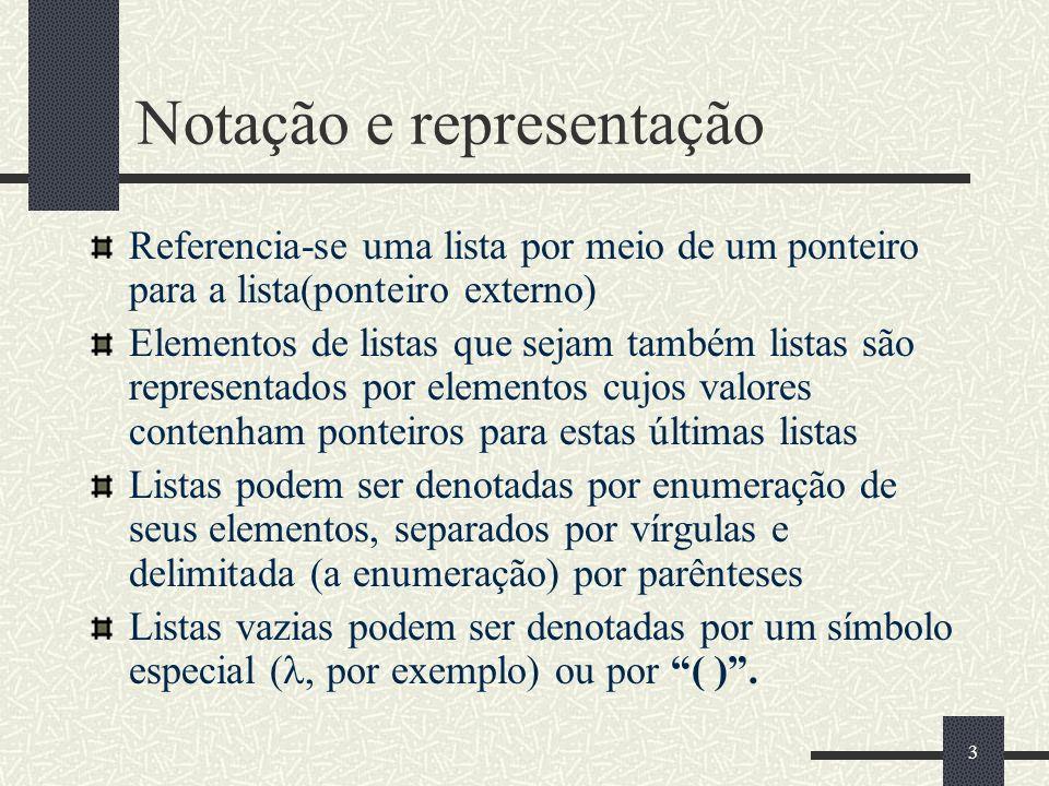 3 Notação e representação Referencia-se uma lista por meio de um ponteiro para a lista(ponteiro externo) Elementos de listas que sejam também listas s