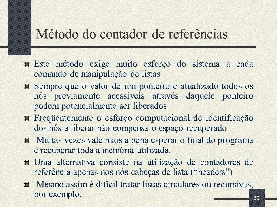 32 Método do contador de referências Este método exige muito esforço do sistema a cada comando de manipulação de listas Sempre que o valor de um ponte