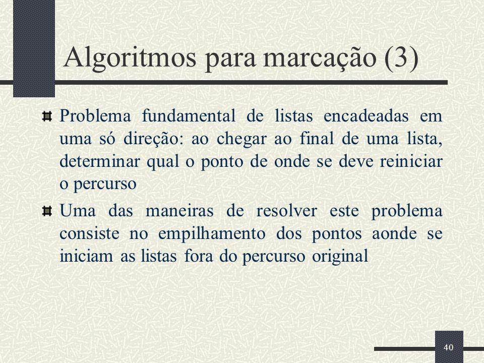 40 Algoritmos para marcação (3) Problema fundamental de listas encadeadas em uma só direção: ao chegar ao final de uma lista, determinar qual o ponto