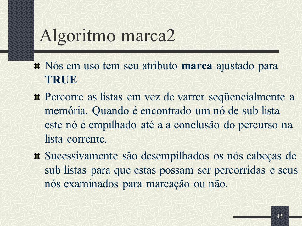 45 Algoritmo marca2 Nós em uso tem seu atributo marca ajustado para TRUE Percorre as listas em vez de varrer seqüencialmente a memória. Quando é encon