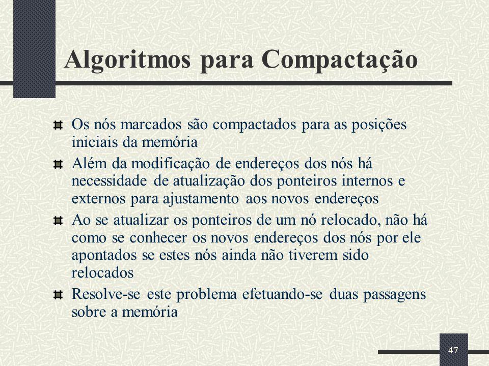 47 Algoritmos para Compactação Os nós marcados são compactados para as posições iniciais da memória Além da modificação de endereços dos nós há necess