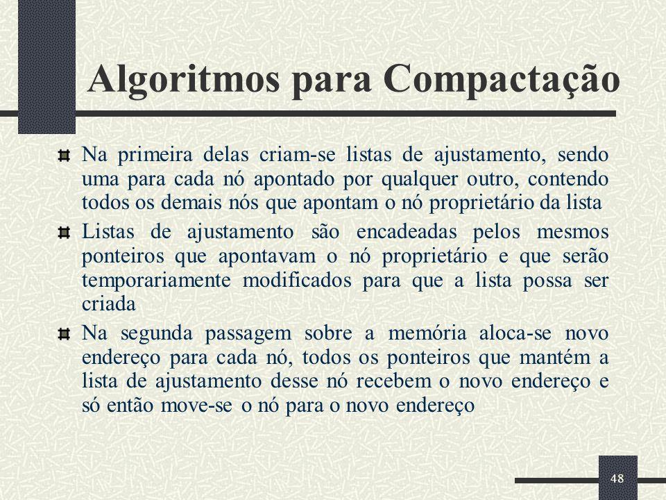 48 Algoritmos para Compactação Na primeira delas criam-se listas de ajustamento, sendo uma para cada nó apontado por qualquer outro, contendo todos os