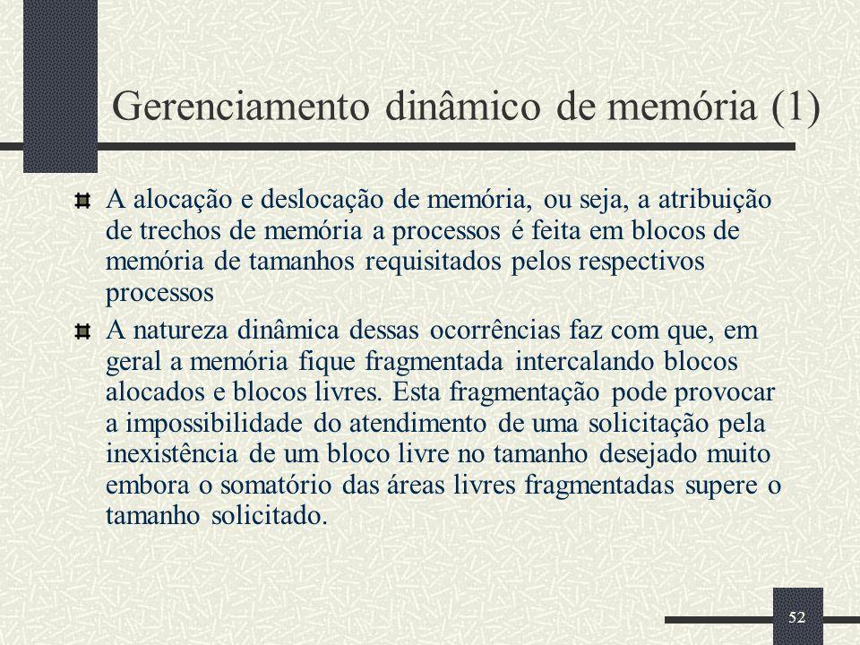 52 Gerenciamento dinâmico de memória (1) A alocação e deslocação de memória, ou seja, a atribuição de trechos de memória a processos é feita em blocos