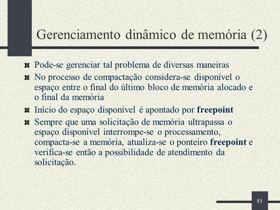 53 Gerenciamento dinâmico de memória (2) Pode-se gerenciar tal problema de diversas maneiras No processo de compactação considera-se disponível o espa