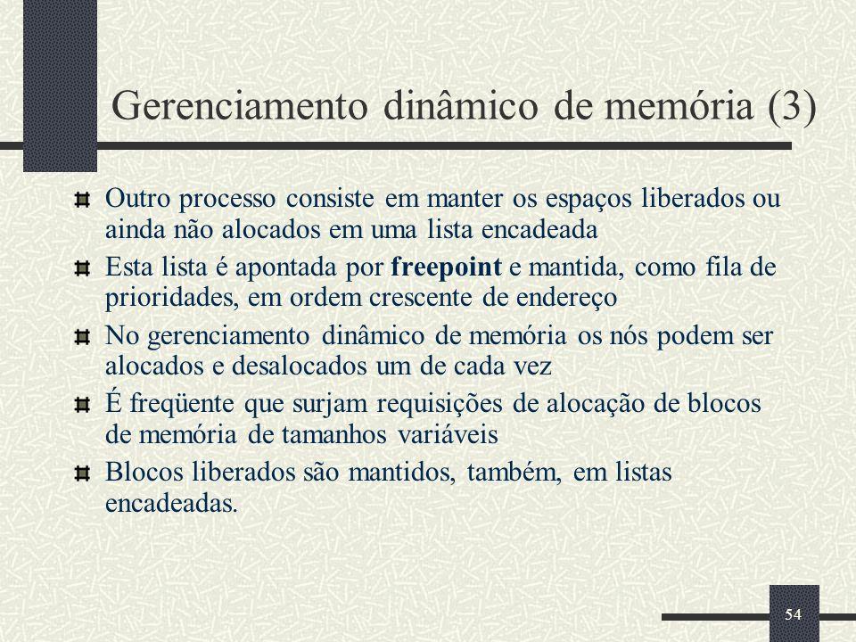 54 Gerenciamento dinâmico de memória (3) Outro processo consiste em manter os espaços liberados ou ainda não alocados em uma lista encadeada Esta list