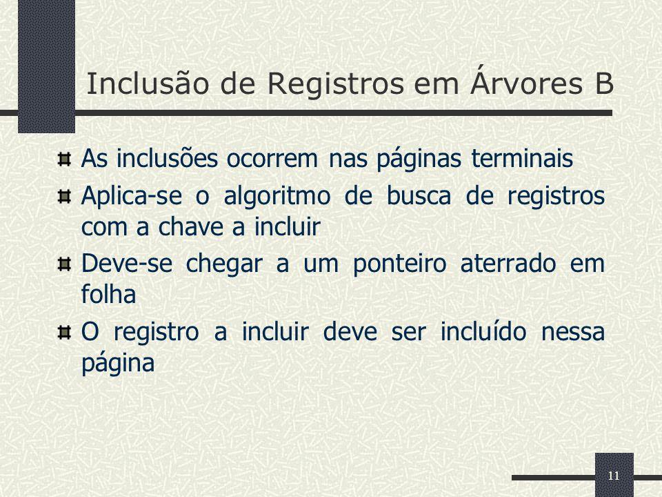 11 Inclusão de Registros em Árvores B As inclusões ocorrem nas páginas terminais Aplica-se o algoritmo de busca de registros com a chave a incluir Dev