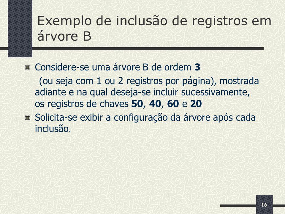 16 Exemplo de inclusão de registros em árvore B Considere-se uma árvore B de ordem 3 (ou seja com 1 ou 2 registros por página), mostrada adiante e na