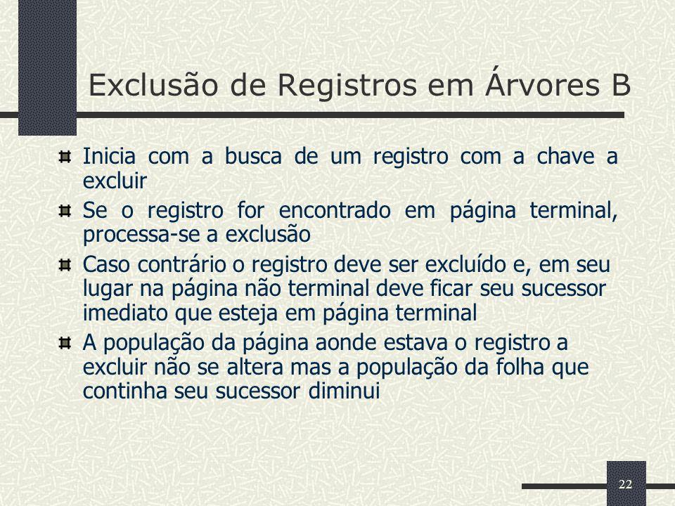 22 Exclusão de Registros em Árvores B Inicia com a busca de um registro com a chave a excluir Se o registro for encontrado em página terminal, process