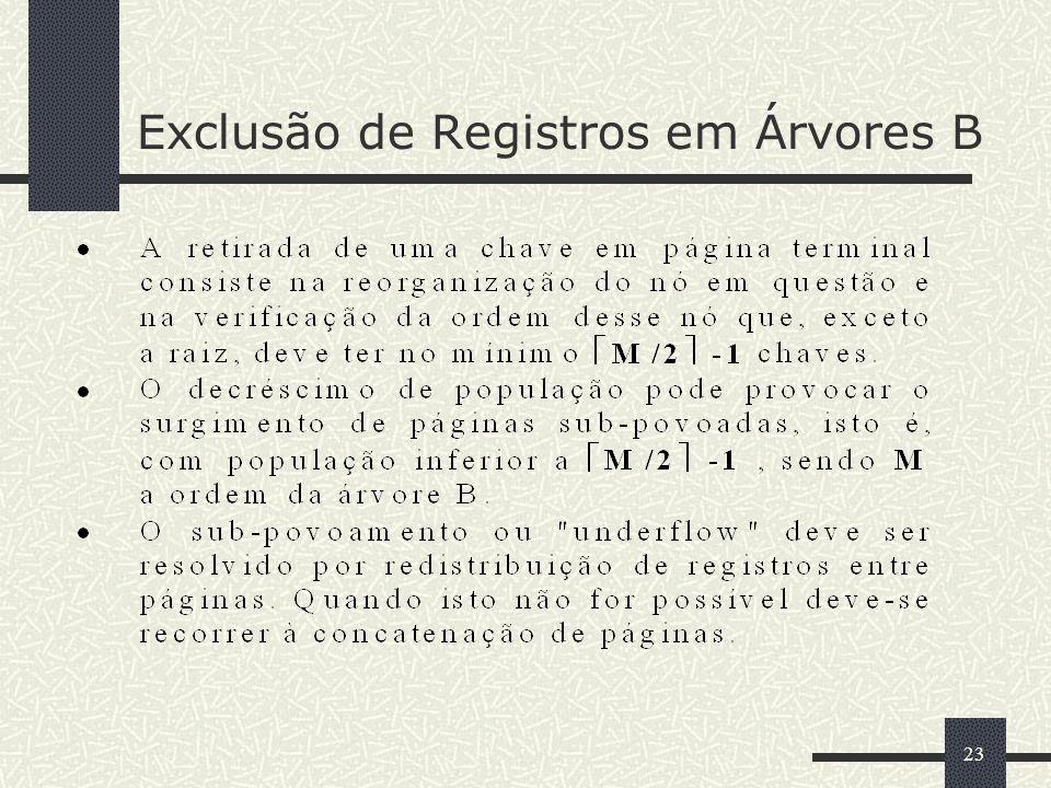 23 Exclusão de Registros em Árvores B