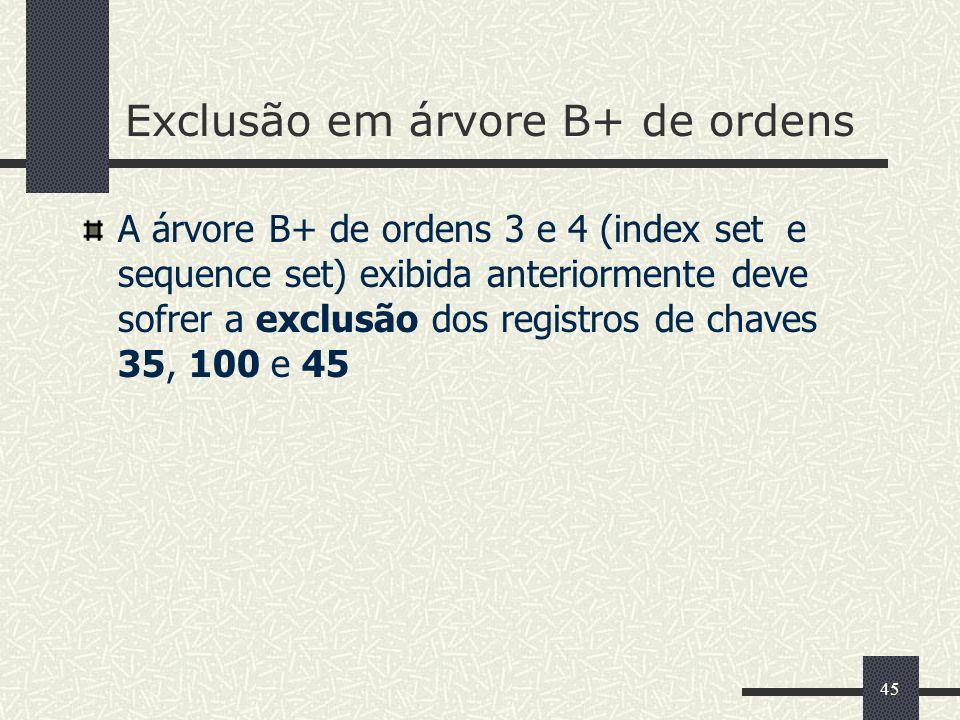 45 Exclusão em árvore B+ de ordens A árvore B+ de ordens 3 e 4 (index set e sequence set) exibida anteriormente deve sofrer a exclusão dos registros d