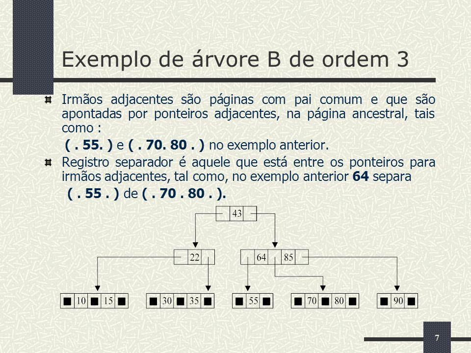 7 Irmãos adjacentes são páginas com pai comum e que são apontadas por ponteiros adjacentes, na página ancestral, tais como : (. 55. ) e (. 70. 80. ) n