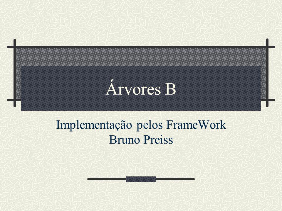 Árvores B Implementação pelos FrameWork Bruno Preiss
