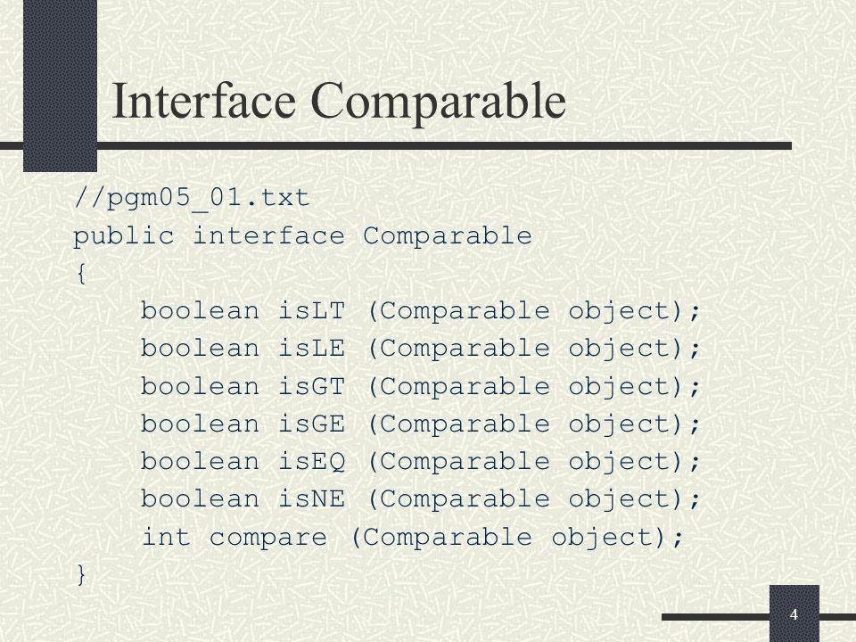 5 Declaração da classe AbstractObject // pgm05_02.txt public abstract class AbstractObject implements Comparable { public final boolean isLT (Comparable object) { return compare (object) < 0; } public final boolean isLE (Comparable object) { return compare (object) <= 0; } public final boolean isGT (Comparable object) { return compare (object) > 0; } public final boolean isGE (Comparable object) { return compare (object) >= 0; } public final boolean isEQ (Comparable object) { return compare (object) == 0; } public final boolean isNE (Comparable object) { return compare (object) != 0; } public final boolean equals (Object object) { if (object instanceof Comparable) return isEQ ((Comparable) object); else return false; }